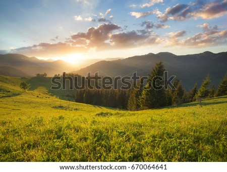 Sunset In The Mountain Valley Beautiful Natural Landscape Summer Time
