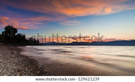 Sunset in the Mountains of British Columbia - stock photo