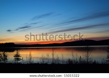 Sunset in the northern part of Sweden; Lapland. - stock photo