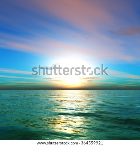 sunset in the ocean, the sunrise over the sea, the light over the sea