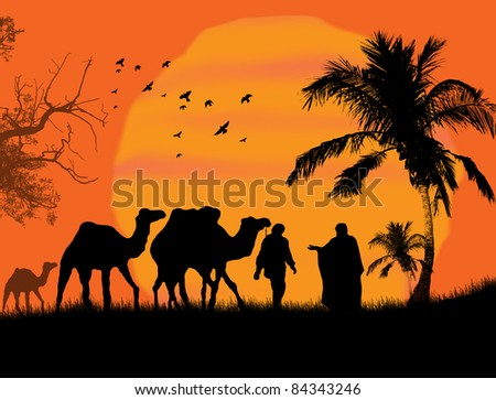 Sunset in the Sahara with bedouins and camels - stock photo