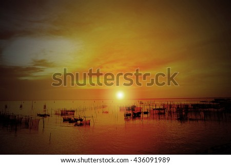 Sunset in the sea in thailand