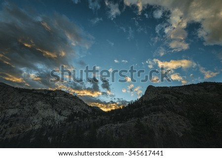 Sunset in the Sierra Nevada Mountains