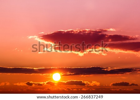 sunset in the sky - stock photo