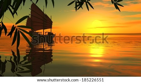 Sunset in the southern sea. Leaves of a bamboo and the Chinese boat. Drawing 3D. - stock photo