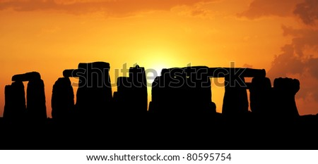 Sunset in the Stonehenge - stock photo