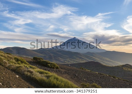Sunset in The  Teide National Park. Mount Teide. Tenerife. Canary Islands. Spain. - stock photo