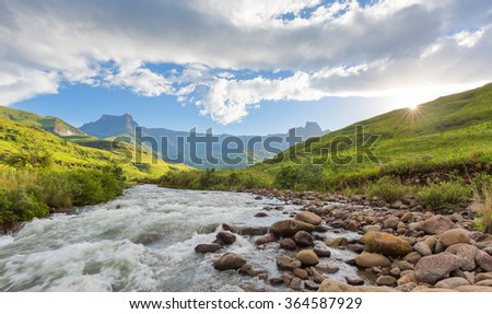 Sunset in the Tugela valley - stock photo