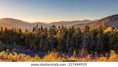 sunset in the White Mountains of New Hampshire - stock photo