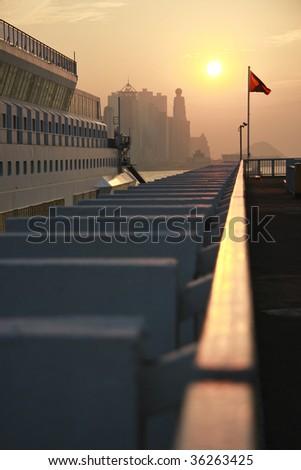 Sunset in Tsim Sha Tsui, Hong Kong - stock photo