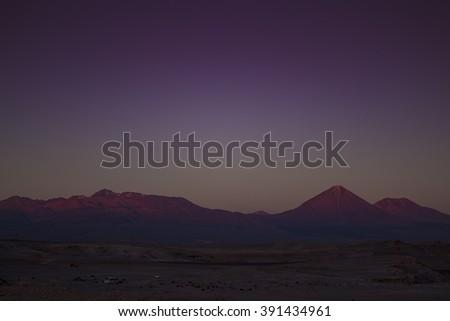 Sunset in Valle de la Luna (Moon Valley), Chile - stock photo