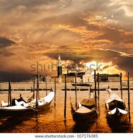 sunset in Venice - stock photo