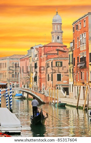 Sunset in Venice - stock photo