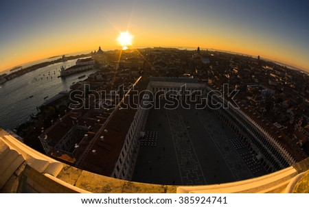 Sunset in Venice aerial view over piazza San Marco or saint Mark square, Italy - stock photo