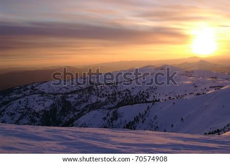 Sunset in Western Sayan mountains. Siberia. Russia - stock photo