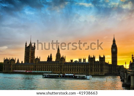 Sunset in Westminster London - stock photo