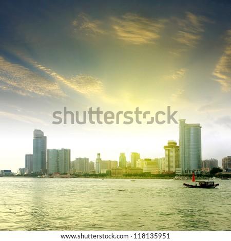 Sunset in Xiamen, China - stock photo