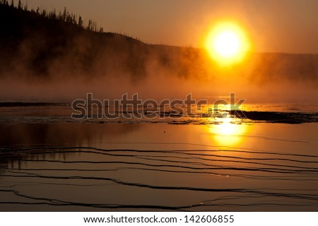 Sunset in Yellowstone - stock photo
