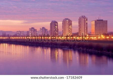 Sunset in Zagreb on river Sava - stock photo