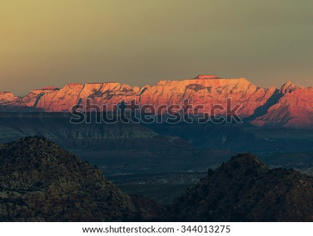 Sunset in  Zion National Park - stock photo