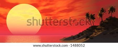sunset island - stock photo
