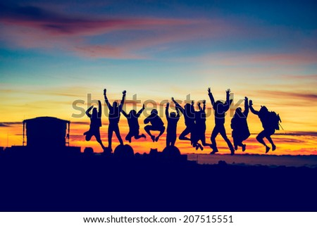 Sunset Jump - stock photo