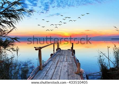 sunset lake - stock photo