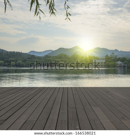 Sunset Lakes Mountains - stock photo