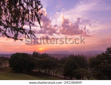 sunset ,Lampang Thailand - stock photo