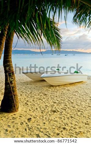 Sunset  landscape. Boats on the coast of Boracay island, Philippines. - stock photo
