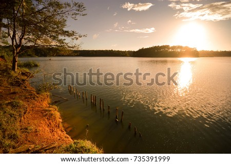 Sunset landscape of the Bosque Azul Lake in Lagunas de Montebello National Park Chiapas, Mexico