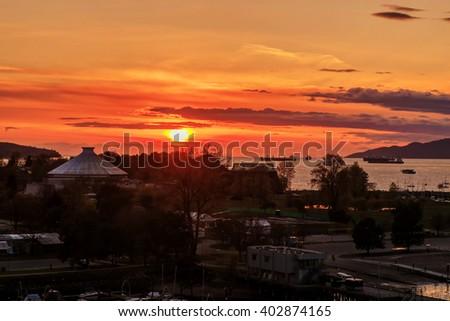 Sunset landscape of Vanier Park, Vancouver, BC, Canada - stock photo