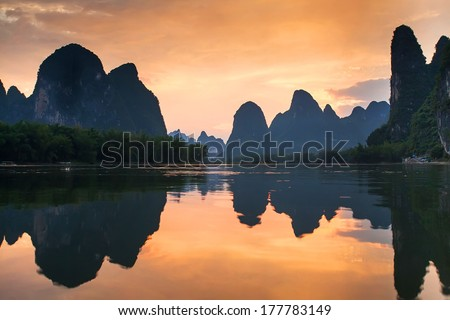 Sunset landscape of yangshuo in guilin,china - stock photo