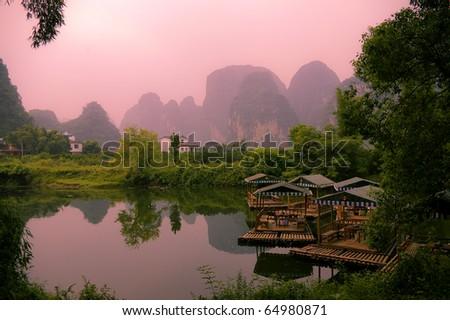 Sunset landscpae of yangshuo - stock photo
