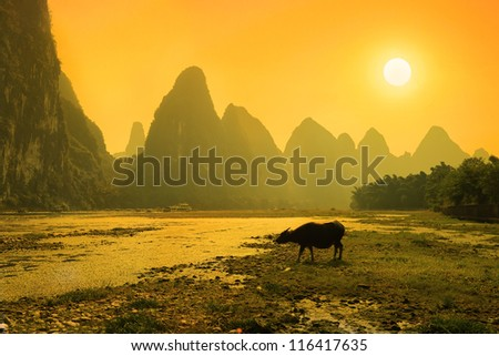 Sunset landscpae of yangshuo in guilin,china - stock photo