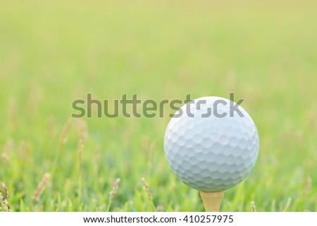 Sunset light at Golf ball on green grass. ( selective focus ) - stock photo