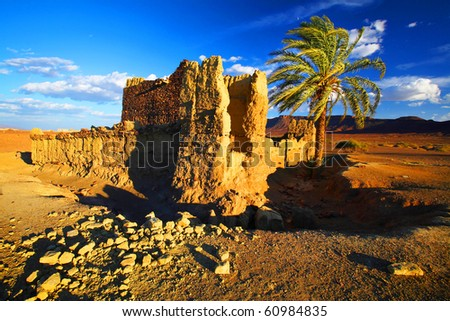 Sunset light in Atlas Mountains, Africa - stock photo