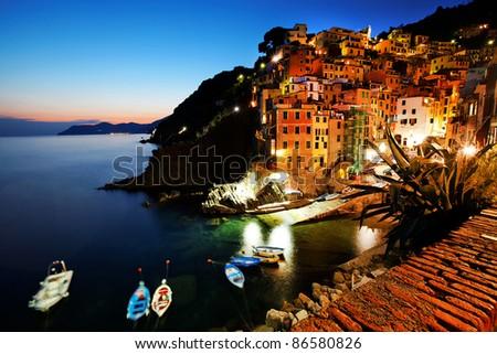 Sunset light in Riomaggiore, Cinque Terre, Italy - stock photo