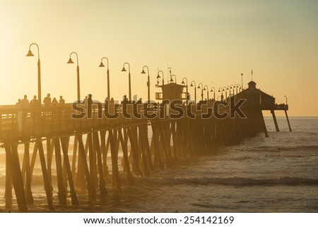 Sunset light on the fishing pier in Imperial Beach, California.