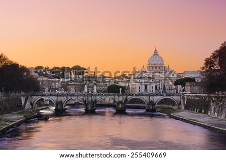 Sunset lights over the basilica St Peter in Rome, Italy