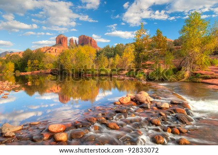 Sunset lit Cathedral Rock. HDR composition. - stock photo