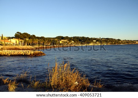 Sunset Mediterranean sea landscape in south france,  Bandol - stock photo