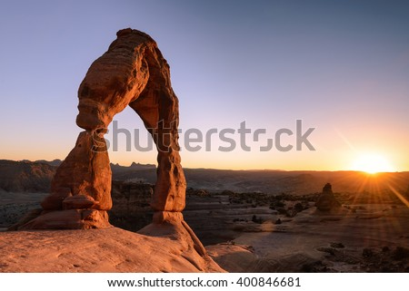 Sunset moment and Delicate arch sand stone at Arches National Park, Utah, USA - stock photo