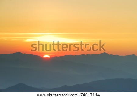 Sunset mountain - stock photo