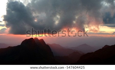 Sunset , Mountain landscape,The beauty of the natural and environment during sunset, Doi Luang Chiang DaoThailand,