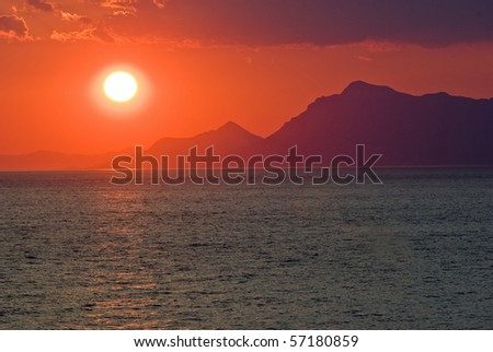 Sunset near by Tucepi in Croatia - stock photo