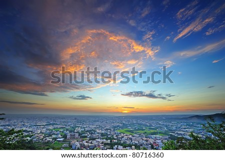 Sunset of my country , view from mountain. - stock photo