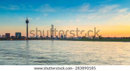 sunset of Rhein river at Dusseldorf in germany - stock photo