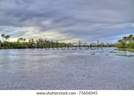 Sunset of the Amazon River - stock photo