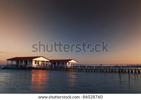 sunset of the beauty houses - stock photo